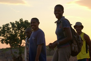 Sylvia (right), Blue Forests scientist, with the president of Antanandahy, a village in the mangroves of the Tsiribihina Delta (K England)
